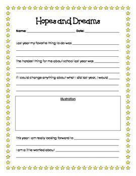 This is printable goal setting/reflection worksheet titled 'Hopes and Dreams.' It is based off of the Hopes and Dreams lessons from the Responsive ...   # Pin++ for Pinterest #