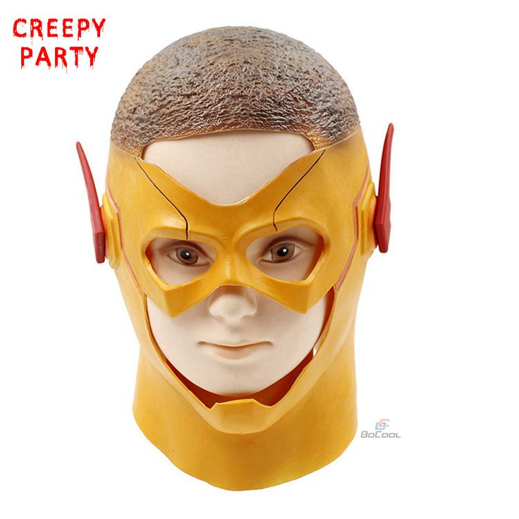The Flash Masks DC Movie Cosplay Party Mask Superhero Realistic Full Head Latex Party Mask Halloween Masquerade Masks (Yellow)