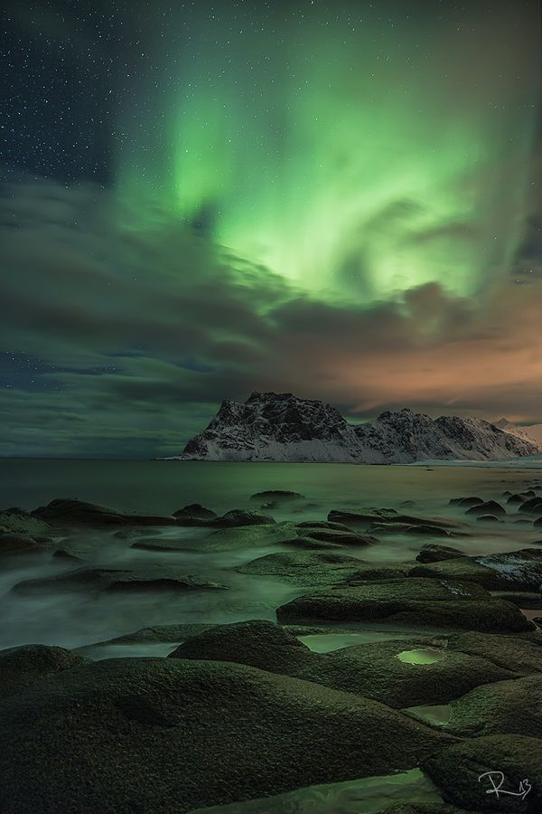 Green sky at night - Northern Lights - Utakleiv Beach on the Lofoten Islands
