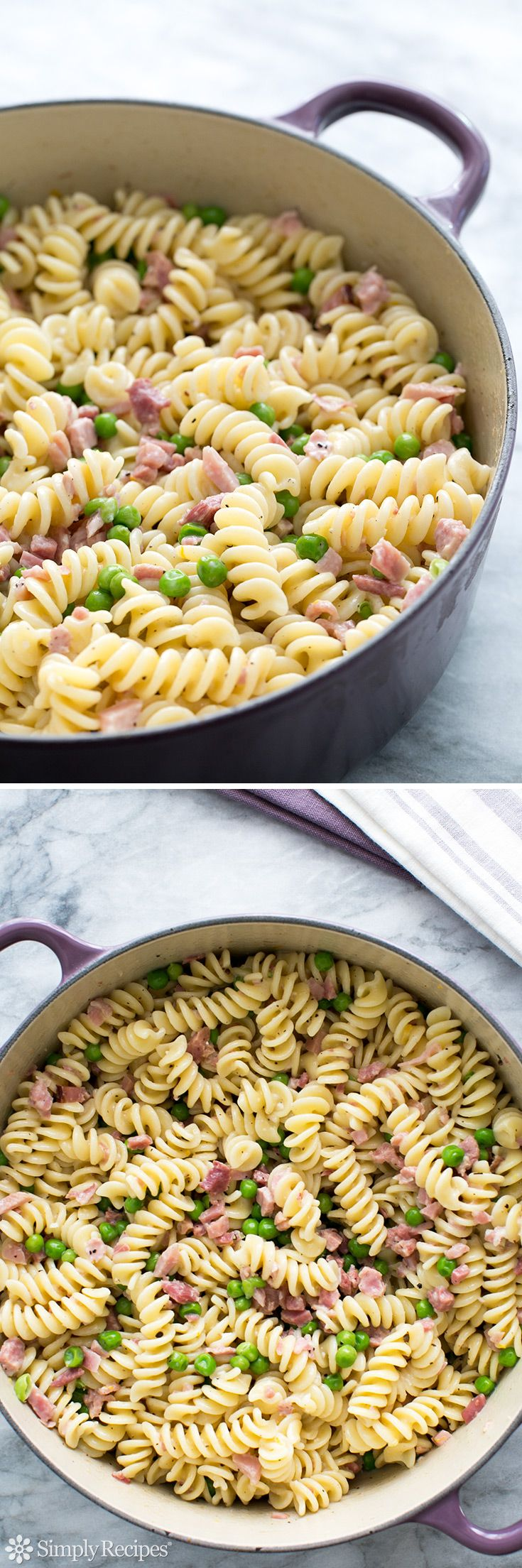 Pasta with Ham and Peas ~ Great use for leftover #Easter ham! Quick and easy, ham and peas with pasta, cream, and Parmesan. ~ SimplyRecipes.com