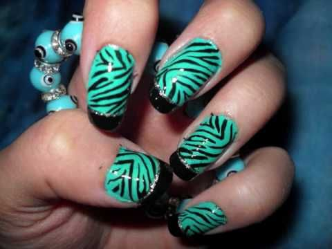 The 25 best zebra nail designs ideas on pinterest zebra nail here you can see the standard zebra nail design pattern again but this time using some nice green color instead of just plain white to give a nice colorful prinsesfo Image collections