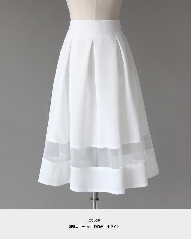 シースルーラインフレアミディスカート・全4色
