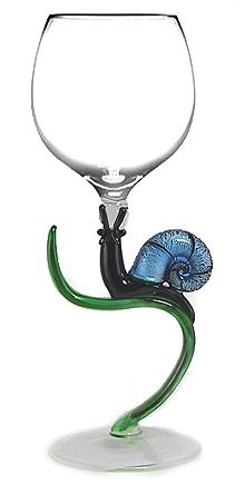 """Blue Snail"" by Yurana (hand blown glass)  For my Mom--the slowest drinker I know!"