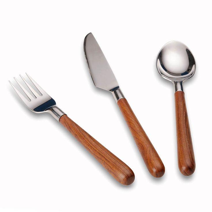 Wood & Steel Cutlery - Dinner Set