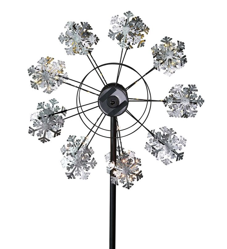 Solar Snowflake Spinner in Wind Spinners