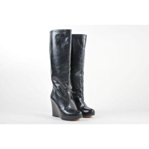 Pre-Owned Maison Martin Margiela Black Leather Hidden Wedge & Platform... ($195) ❤ liked on Polyvore featuring shoes, boots, black, wedge heel boots, black wedge boots, black wedge knee high boots, hidden wedge boots and black leather boots