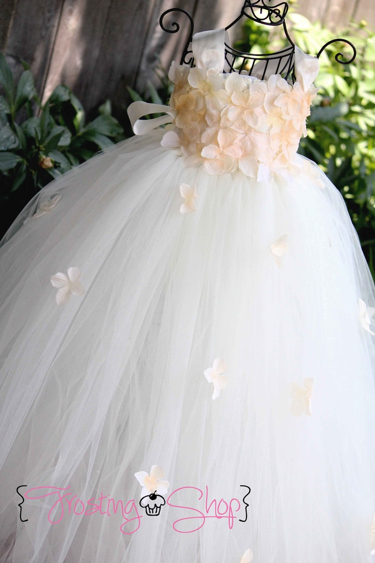 flowergirl :) Ivory Flower Petal Drops Tutu Dress- Flowergirl, pageant, hydrangea. $80.00, via Etsy.