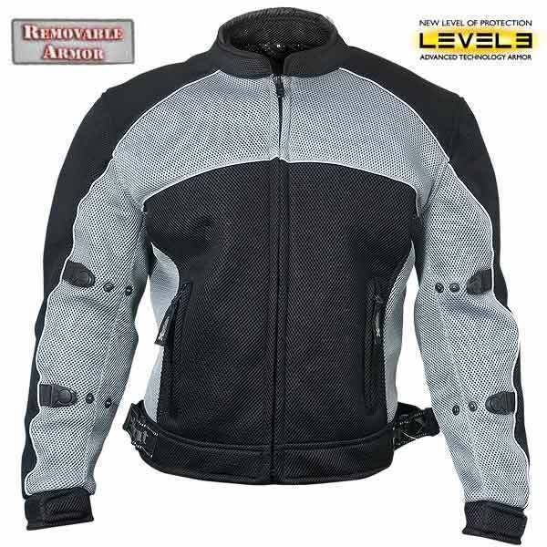 Xelement Mens CF511 Black Mesh level-3 Armored Padded Sport Motorcycle Jacket #Xelement #Motorcycle
