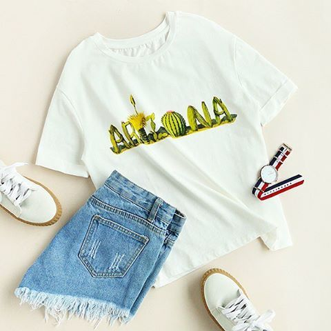 """3,907 Likes, 9 Comments - @romwe_fashion on Instagram: """"Game day ready, yay? Shop link in bio. (SKU: tee170213703 US$9.99 ) #romwe #white #graphic #print…"""""""