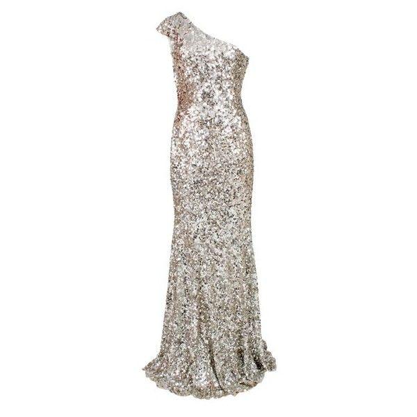 Rachel Gilbert Pearla Silver Sequin Evening Gown