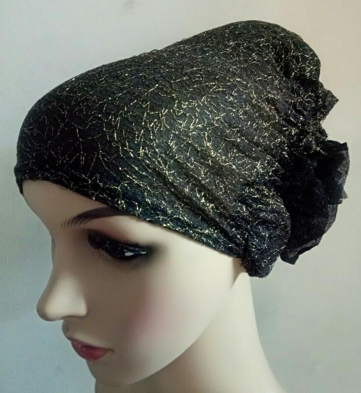 >> Click to Buy << hijab cap headwrap bandanna back flower bonnet with golden thread inner khaleeji hijab scarf back close free ship #Affiliate