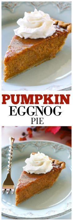 Pumpkin Eggnog Pie - Thanksgiving dessert meets Christmas dessert! the-girl-who-ate-everything.com