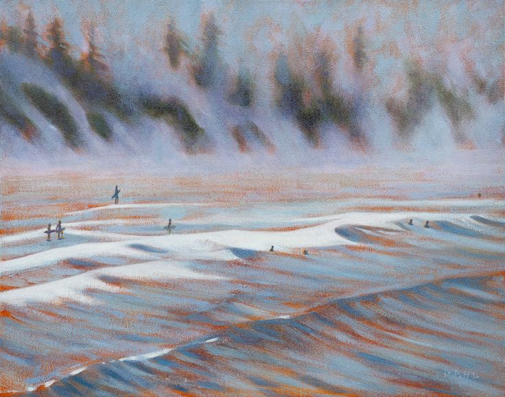 "Surfers, Fog at Sunrise, Chesterman Beach BC. © Chris Dahl 2014. 16x20"" oil on canvas (framed) $1,000. 16x20"" signed archival giclée artist's proof (unframed) $180. Free shipping within North America."