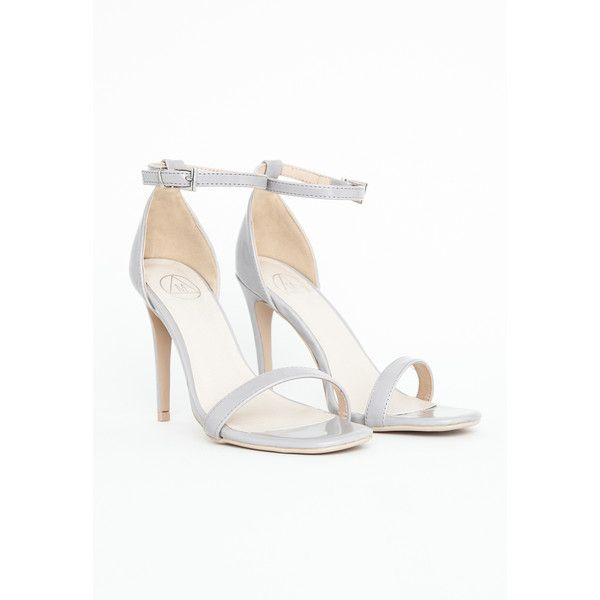 Missguided Clara Grey Strappy Heeled Sandals ($47) via Polyvore