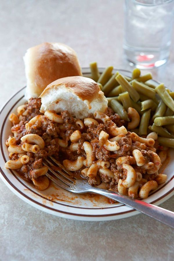 "This delicious dish—known as ""American chop"" in diner-ese—is similar to the all-American classic chili mac."