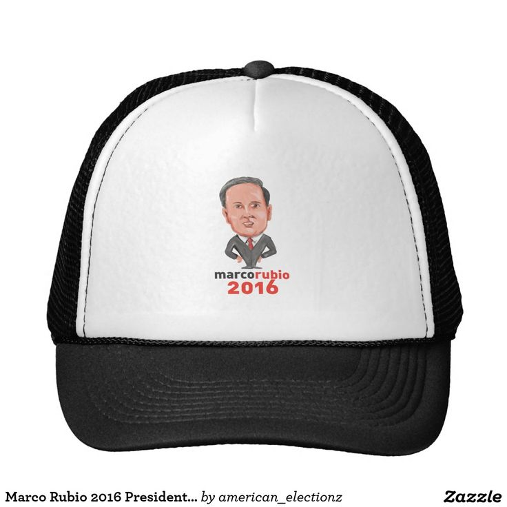 Marco Rubio 2016 President Caricature Trucker Hat. Caricature illustration showing Marco Rubio, an American senator, politician and Republican 2016 presidential candidate standing with words Marco Rubio 2016 done in cartoon style. #Rubio2016 #republican #americanelections #elections #vote2016 #election2016