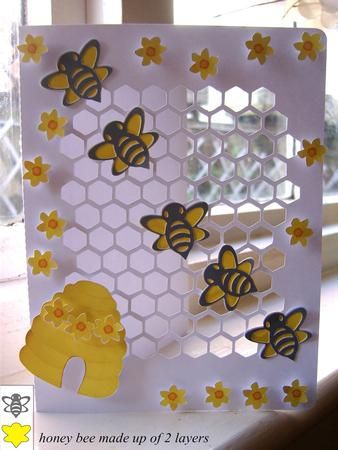 HONEY BEE CARD on Craftsuprint designed by Clive Couter - silhouette studio files