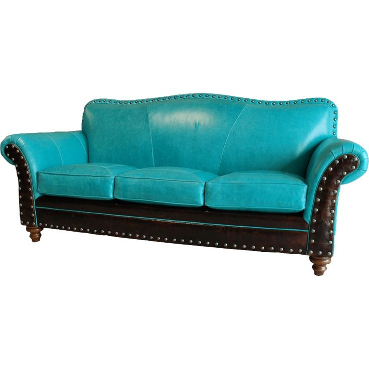 Turquoise sofas midcentury family room with striking couch for Teal leather sofa