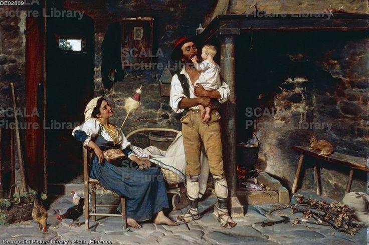 Bechi, Luigi (1830-1919) Giochi con bambino. Olio su tela, 83,8x121,9 cm. Italia, XIX-XX secolo.