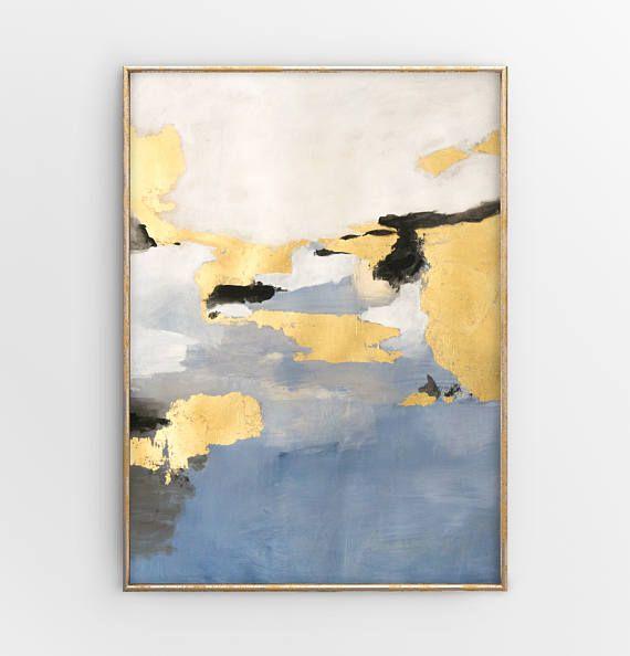 Original Abstrakt Mixed Media Malerei mit Blattgold