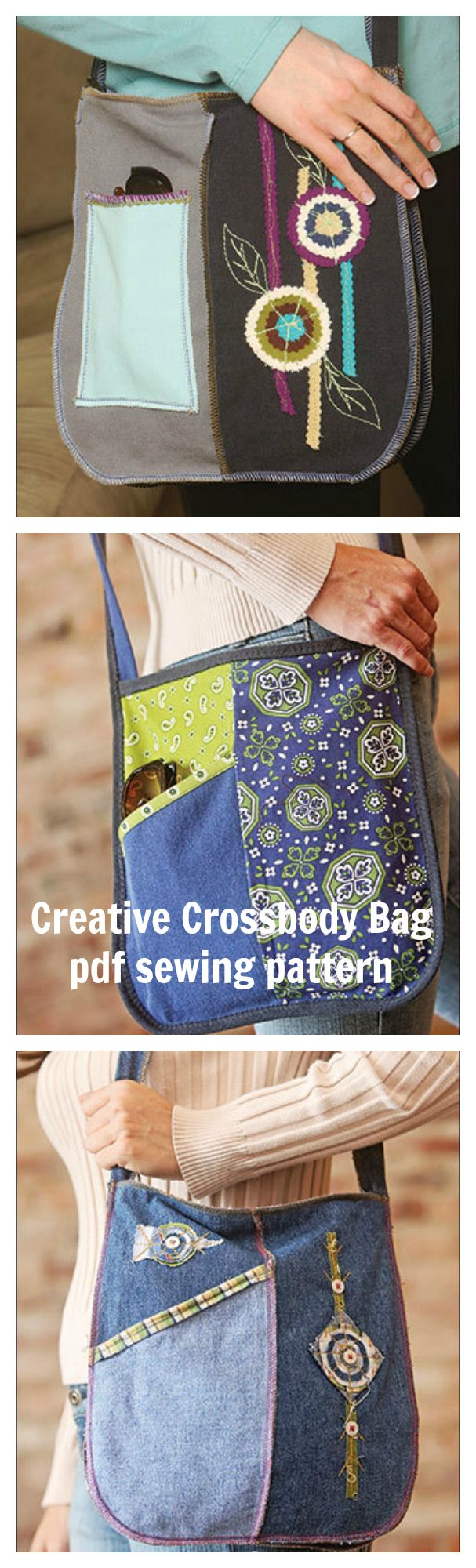 Creative Crossbody Bag Digital Sewing Pattern PDF - create three versions of this shoulder bag including a recycled denim jean option