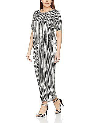 16, Multicoloured, Evans Women's Stripe Plisse Midi Dress NEW
