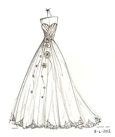 Wedding dress sketch wedding dress sketches pinterest for How to draw a wedding dress