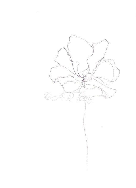 """ORIGINAL Minimalist Pencil Drawing; 185g Paper; Botanical Drawing; Minimalist Botanical; Abstract Flower """"Blume"""";"""