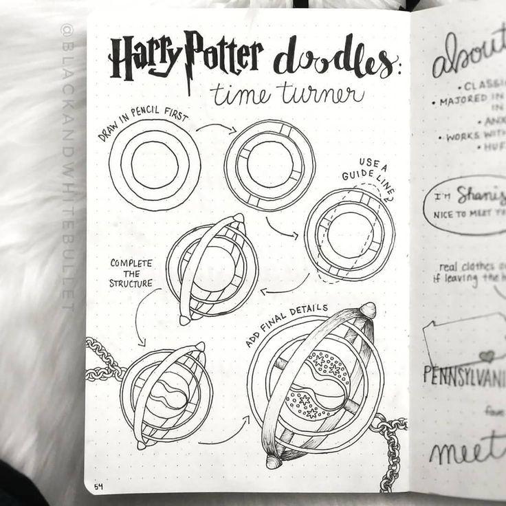 Shanise Black White Bujo Auf Instagram Tutorial Wie Man Einen Zeitumkehrer Zeichn Harry Potter Journal Zeichnen Journaling Ideen