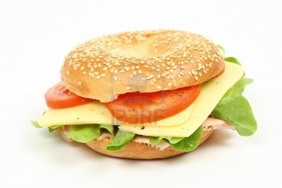 There toasted bageles with cheese tomato and lettuce go down great any time of day.