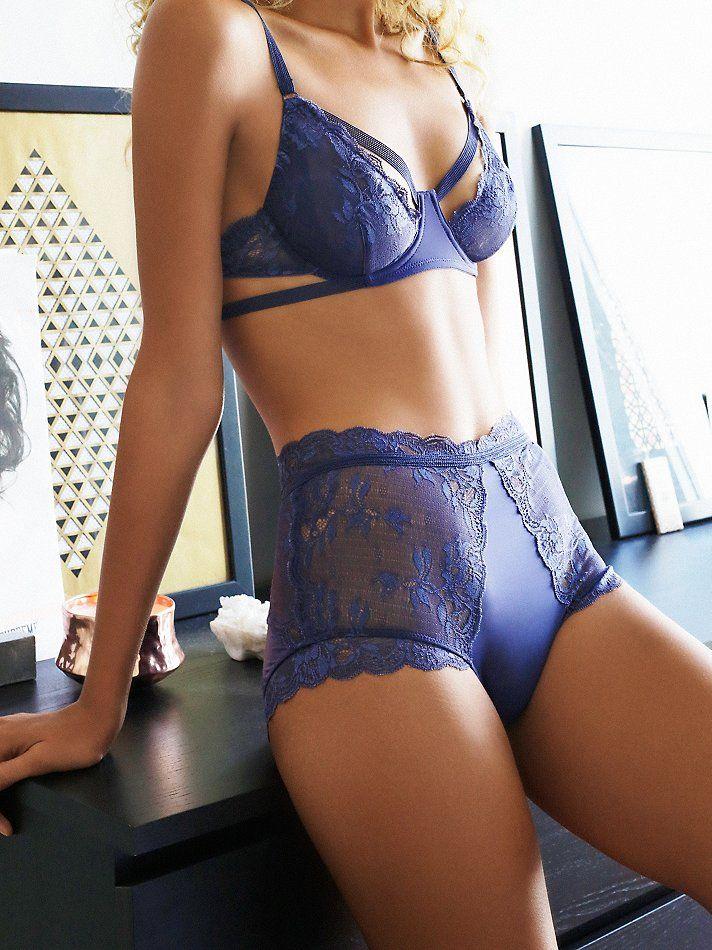 Dream of Me Underwire Bra | Sheer lace demi underwire bra with strap detailing…
