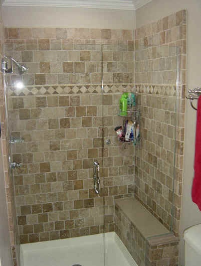 basic tiled shower with bench