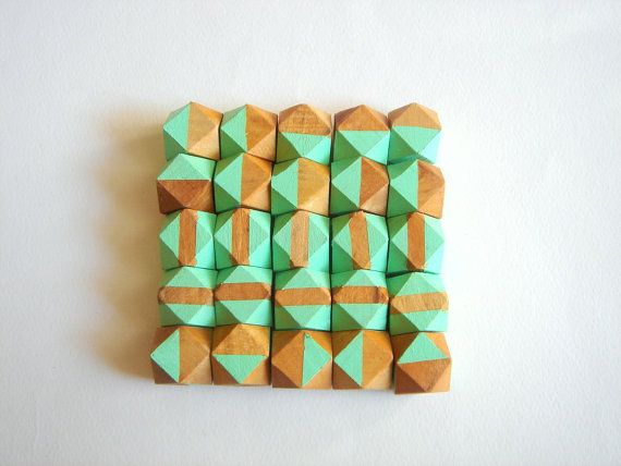 Mint Geometric Hand Painted Wood BeadsDo it Yourself by LiKeBeads8, $24.50