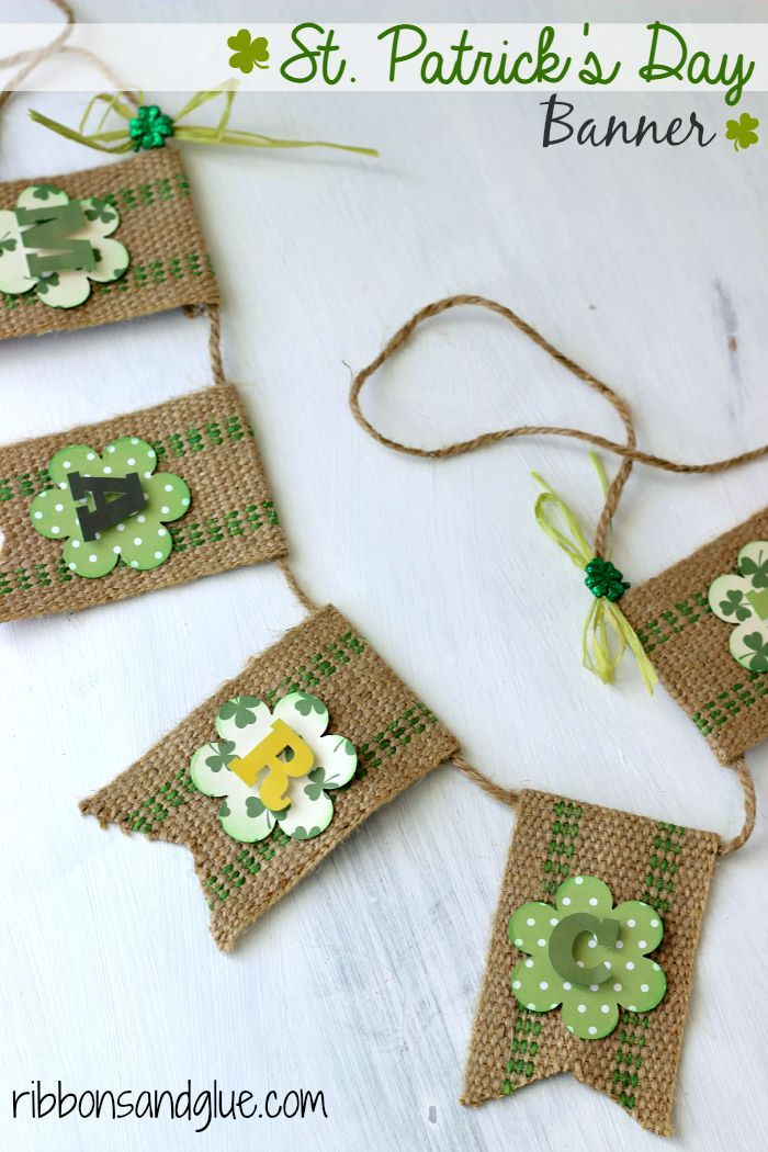 St. Patrick's Day Banner made with green jute webbing and scrapbooking stickers.  So cute for Spring!