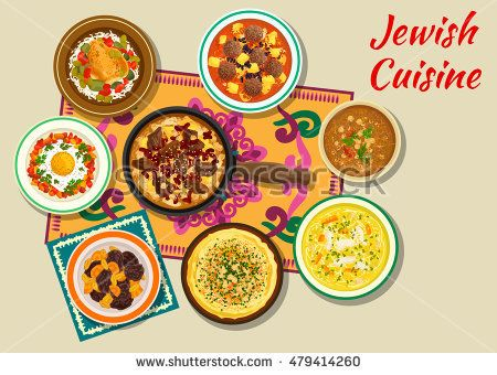Jewish cuisine kosher dinner icon with beef, potato and bean stew cholent, hummus, egg and meatballs in tomato sauce, chicken with olives, chicken noodle and lamb chickpea soups, dry fruit dessert