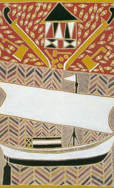 Information about the interaction between Aboriginal and Torres Strait Islander people with The Macassans - Australian Institute of Aboriginal and Torres Strait Islander Studies. Aartwork of a boat, swords and sea cucumbers (tepang),