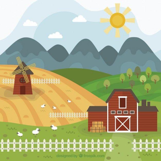 Mão moinho tirado e paisagem da exploração agrícola com cerca Vetor grátis