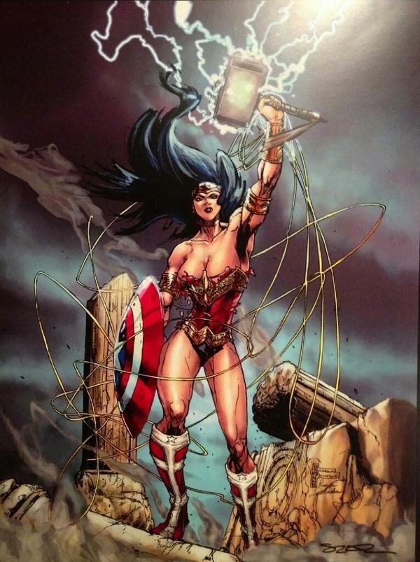 #WonderWomanWednesday #WonderWoman w/ Caps shield & Mjolnir! #YourArgumentIsInvalid! #wcw