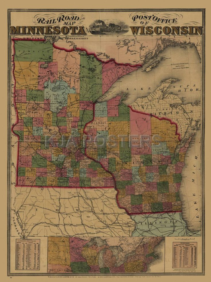 Minnesota railroad and Wisconsin post office map