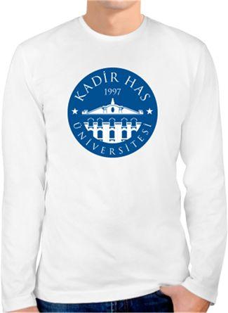 Kadir Has Üniversitesi - Logo - Kendin Tasarla - Erkek Bisiklet Yaka Tişört Uzun Kollu