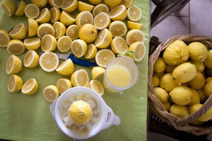 Citrus season in Greece. Making lemonade on Crete from the freshly picked lemons.