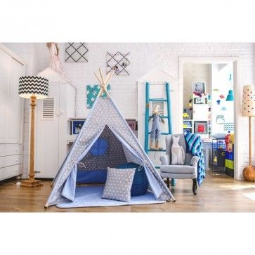 Modern #kids #teepee in grey with white stars and powder sky blue inside. Perfect for #modern and #scandi #nursery. It is suitable for baby boy as well as little girl's bedroom.  Buy online at http://funique.co.uk
