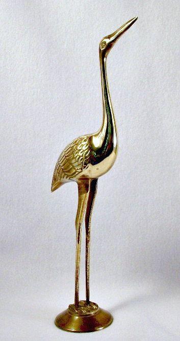Large Standing Cranes Stencil: Vintage Brass Standing Crane, Brass Egret Water Bird