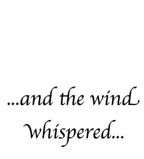 and the Wind Whispered...If you want something you never had, you have to do something you've never done.