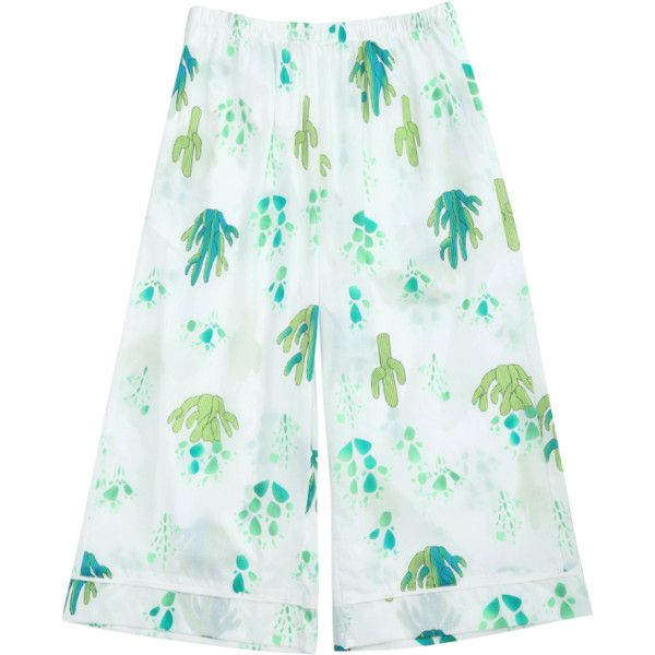 Wide Leg Cactus Print Capri Loungewear Pants ($15) ❤ liked on Polyvore featuring pants, white wide leg pants, capri trousers, wide leg capris, white trousers and white capris