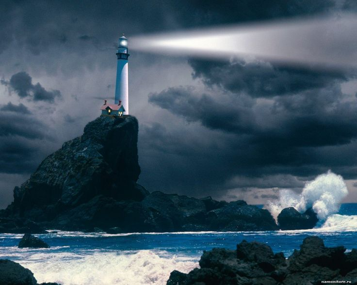 Маяк на вершине скалы, маяки, море, природа, синее 1280х1024