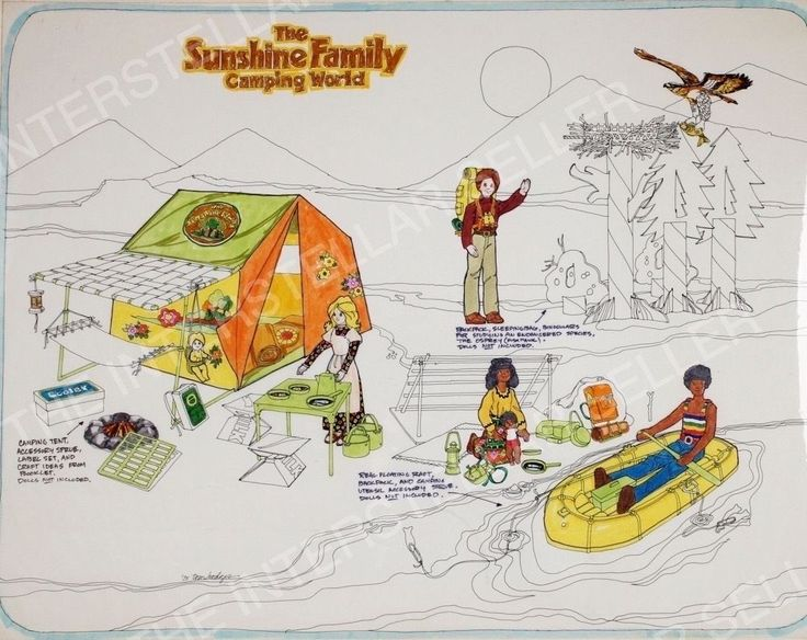 "Rare!! ORIGINAL 1975 SUNSHINE FAMILY DOLL ""CAMPING WORLD"" CONCEPT ART! Vintage"