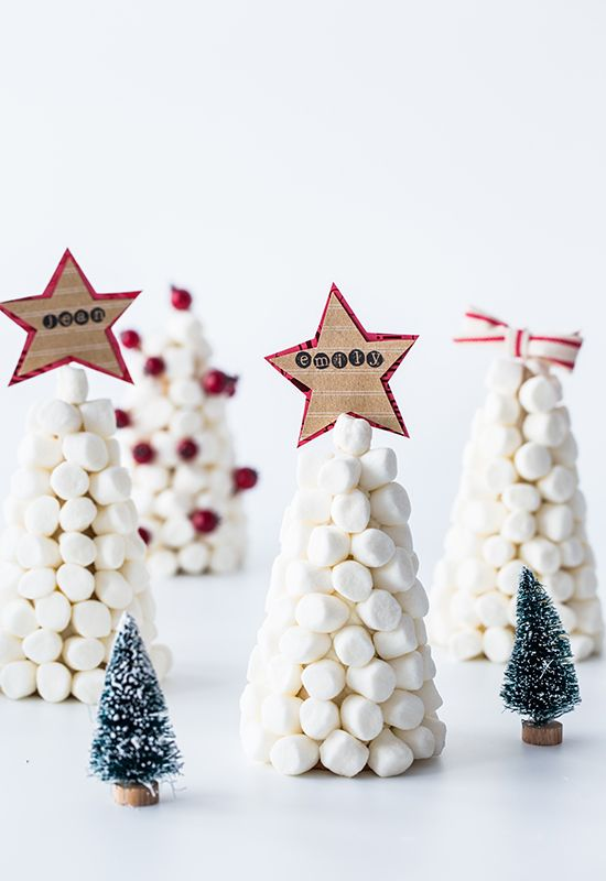 Marshmallow Trees - Christmas Table Place Cards