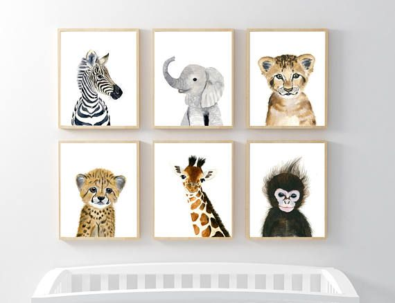 Lets make your little ones room warm and enjoyable! This animal portrait art prints collection features a set of 6 prints from my safari animals nursery wall art. If, however, youd like to swap any of them for a different piece in my shop, please give me a notice about which baby animals
