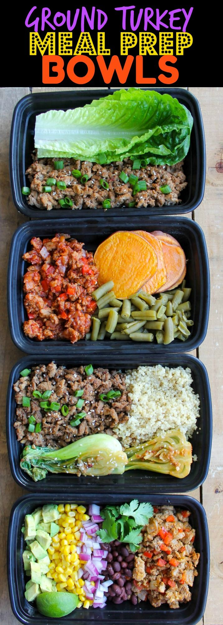 Ground Turkey Meal Prep Bowls: 4 Ways - these healthy meal prep bowls come together so quickly and are budget friendly, clean eating, whole 30, gluten free and paleo friendly!